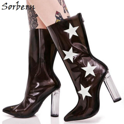 7bda567d4082a Transparent Pointed Toe Women Boots Star PVC Clear Chunky High Heels