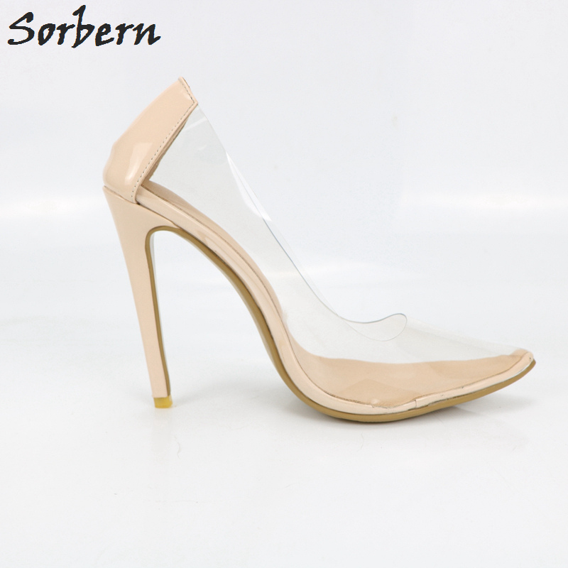 Sexy Transparent Pvc Nude Women Shoes High Heel Pumps DIY Color 24b25b2f2f8e