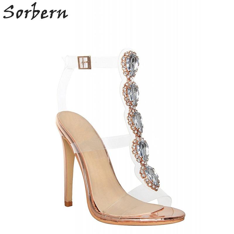 Sorbern PVC Straps Crystals T-strap High Heel Sandals Rose Gold 2bccb2c26a9b