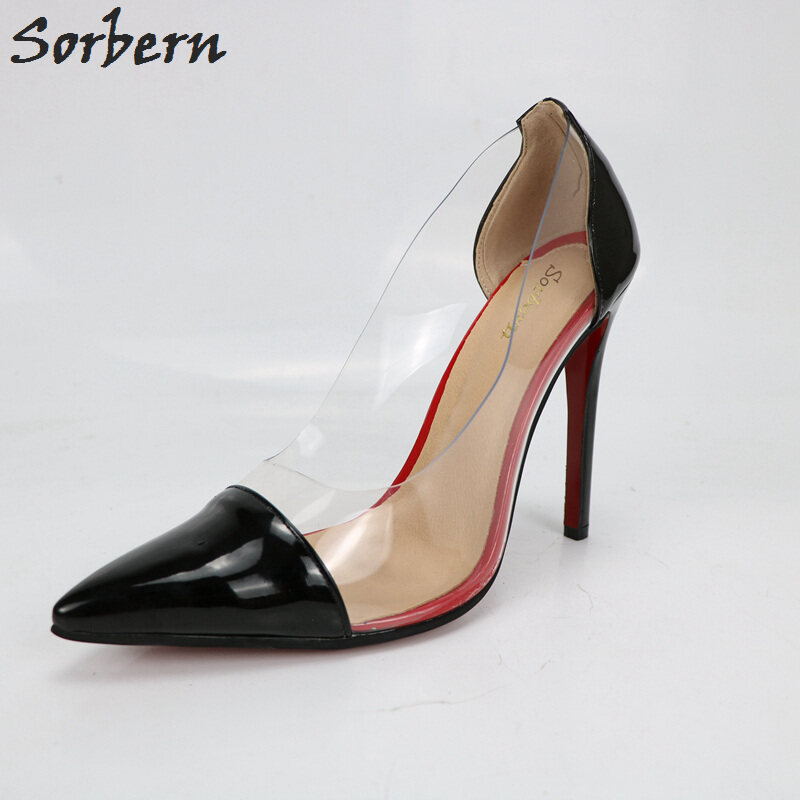 4f9d57308de Black Shiny Red Bottom High Heel Pumps Shoes Women 1527254601350 6.JPG