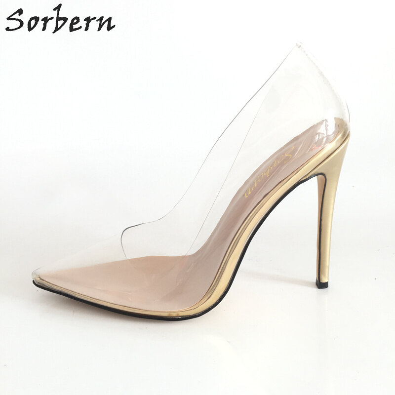 Sorbern Clear PVC Transparent Women Pumps Stilettos Heels eaf6595b490d
