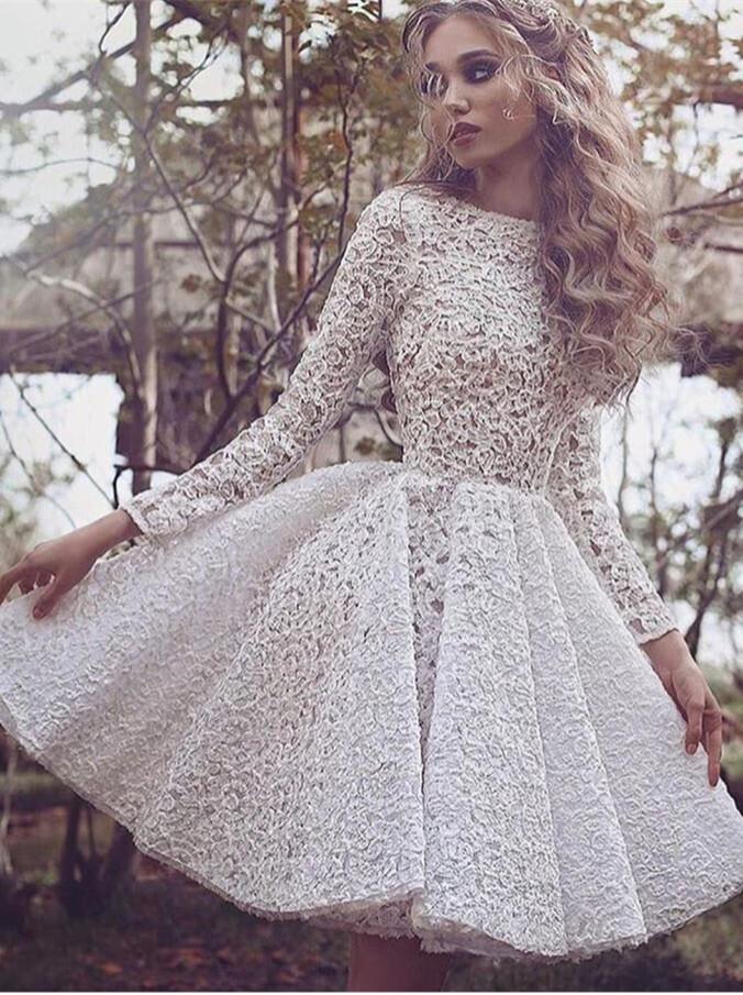 Full Lace Long Sleeve Short Homecoming Dress