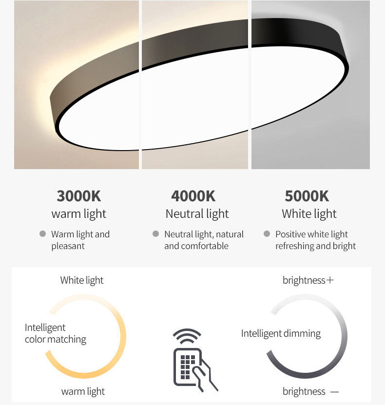modern surface mount dimmable round led ceiling lights for living room