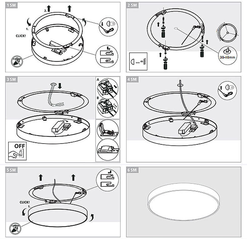 modern surface mount dimmable round led ceiling lights for living room installation