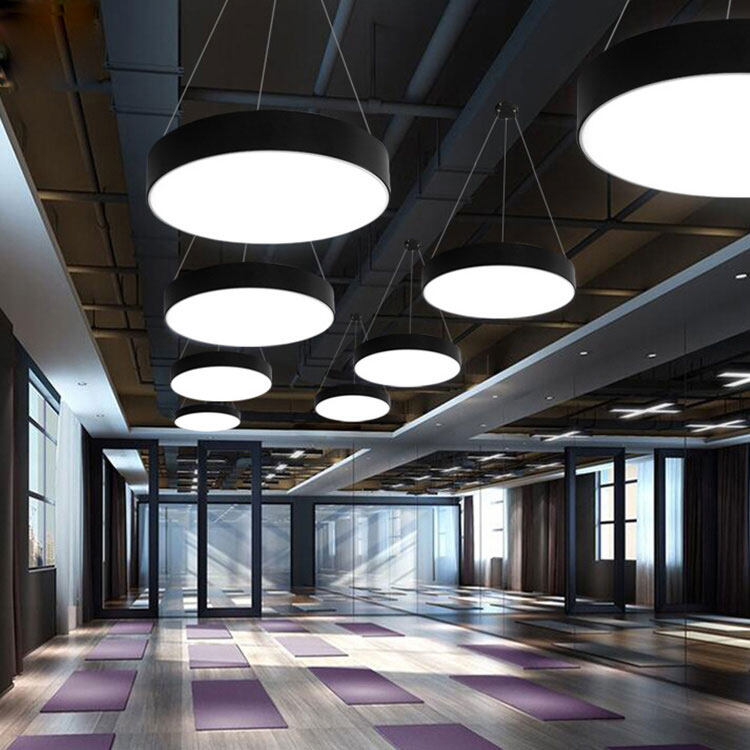 commercial hallway office acrylic black white modern pendant light nordic danish installation