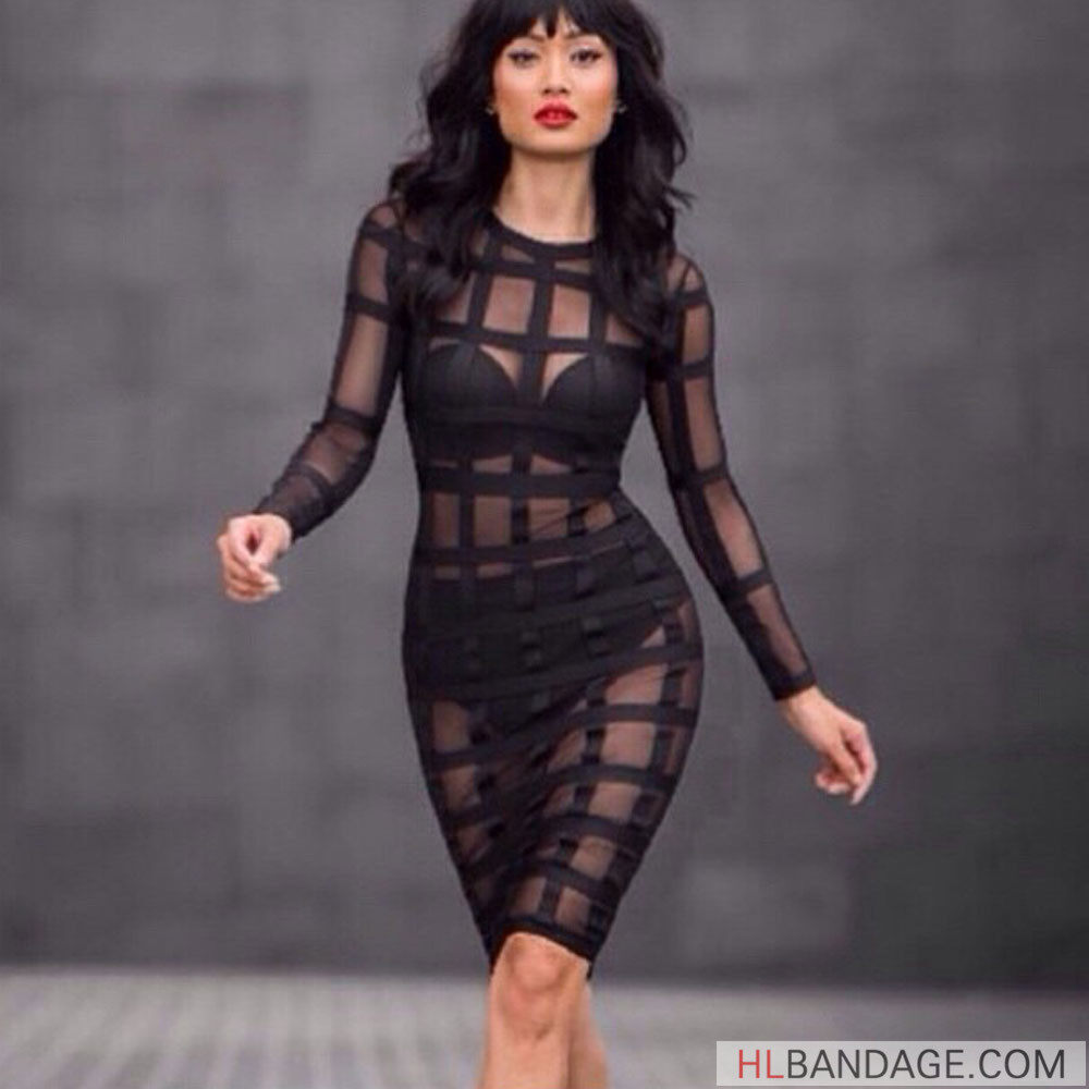 2c2ec16486 see through long sleeve black mesh grid sexy rayon knee length new fashion  autumn and winter club hl bodycon bandage dress