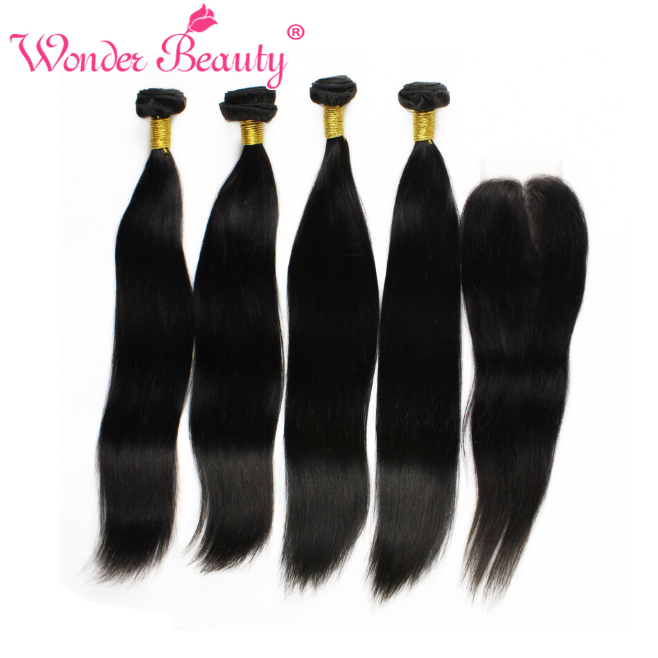 Malaysia Virgin Human Hair Straight Extensions Sleek 4 Bundles With