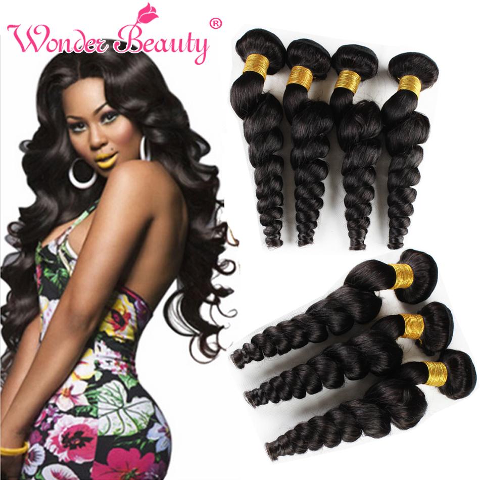 Unprocessed Brazilian Virgin Hair 4 Bundles Loose Wave Wet And Wavy