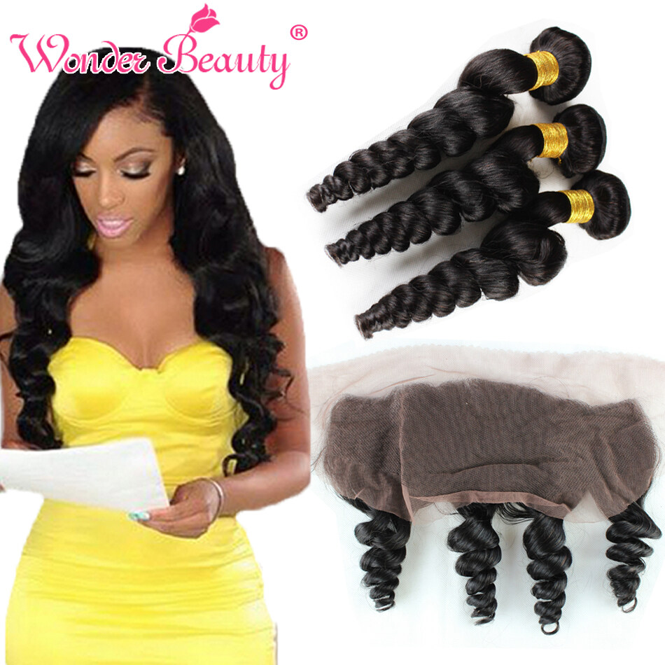 7a Malaysian Curly Hair Loose Curly 3 Bundles With 13x4 Ear To Ear