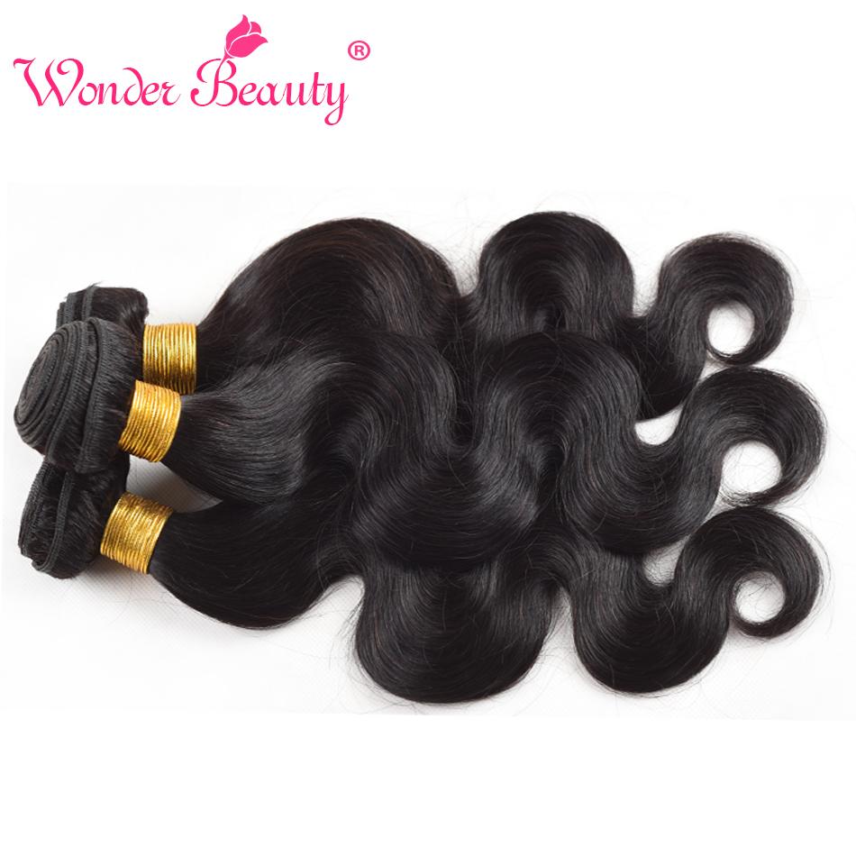 Wonder Beauty Brazilian Virgin Hair Body Wave 3 Bundles With Ear To
