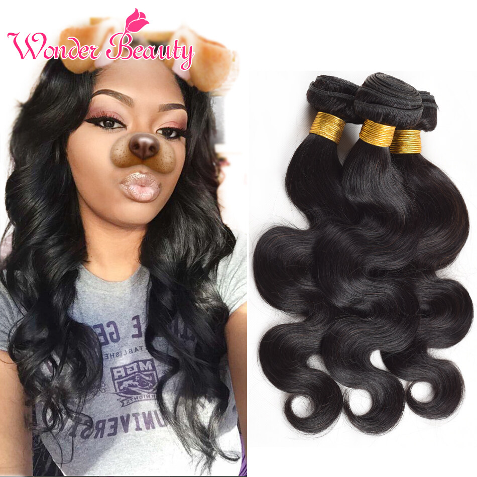 Brazilian Virgin Hair Body Wave Natural Wave Hair Weaving 4 Bundles