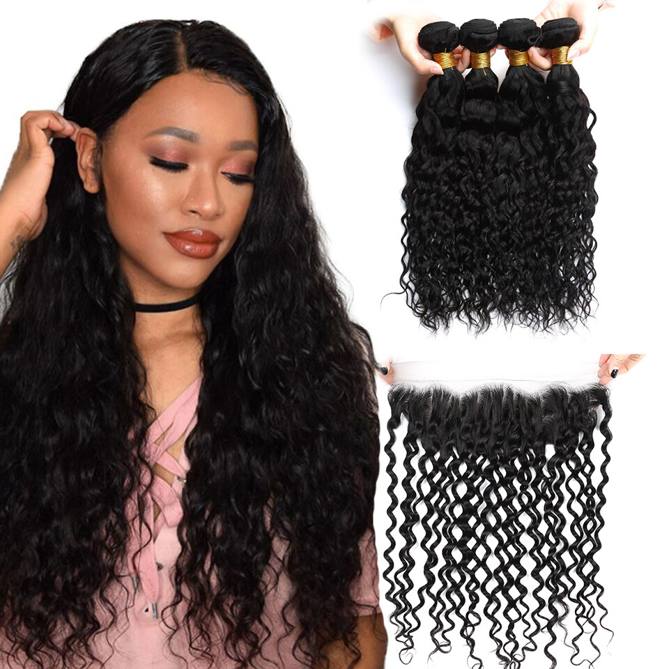 Brazilian Hair Weave 3bundles With Frontal Closure Natural Black Wet