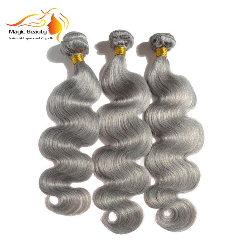 Color Grey Virgin Body Wave Human Hair Bundles 3pcs