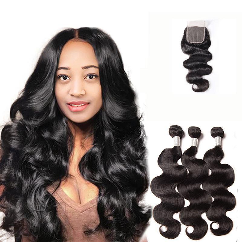 8a Brazilian Virgin Hair With Closure Extensions 3 Bundles 4