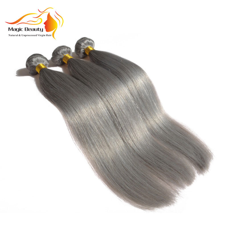 Color Grey Straight Hair Gray Hair With Closures
