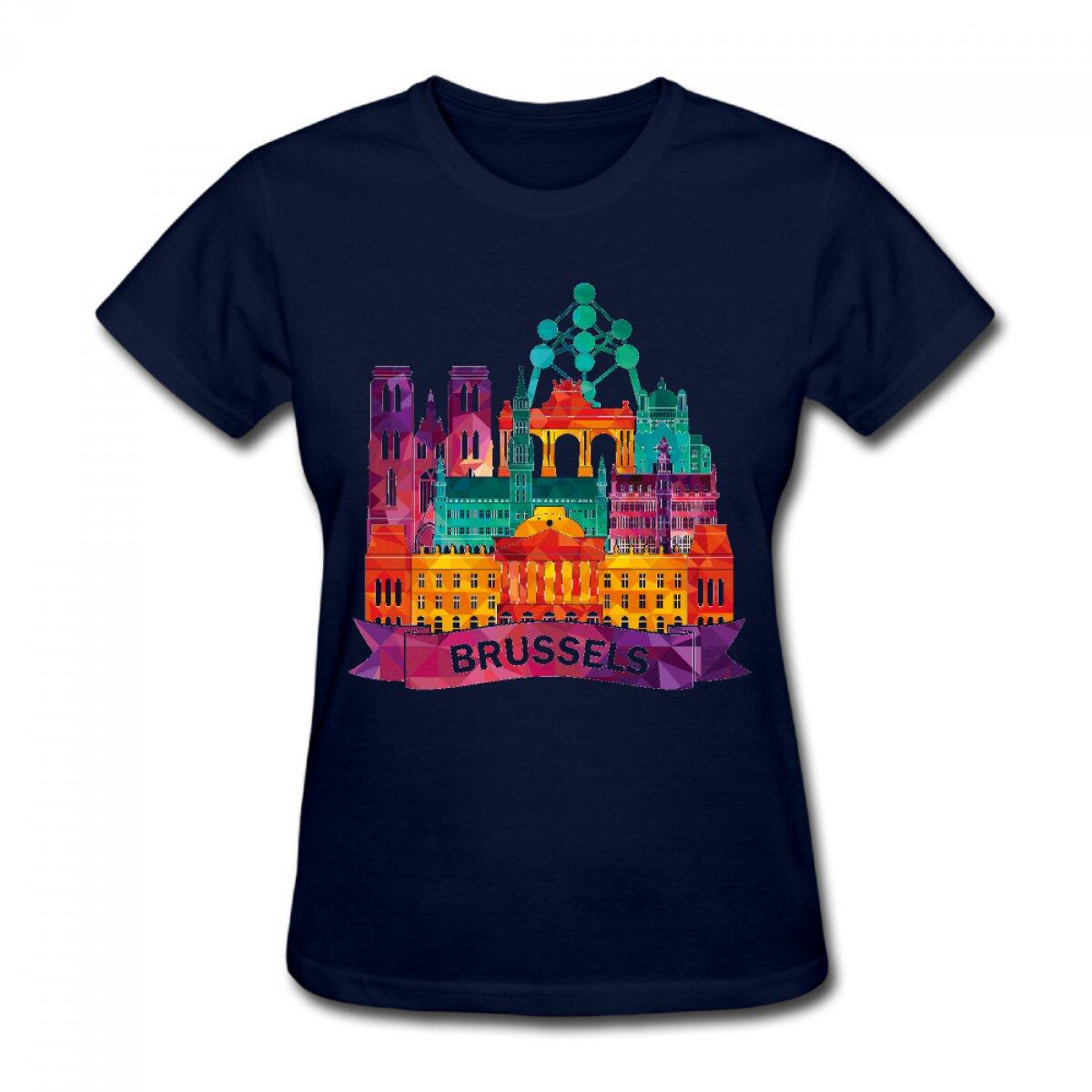 Phorock women short sleeve 100 cotton brussels atomium for Places that print pictures on shirts