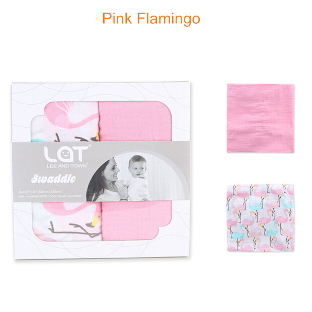 muslin swaddle blanket Pink Flamingo