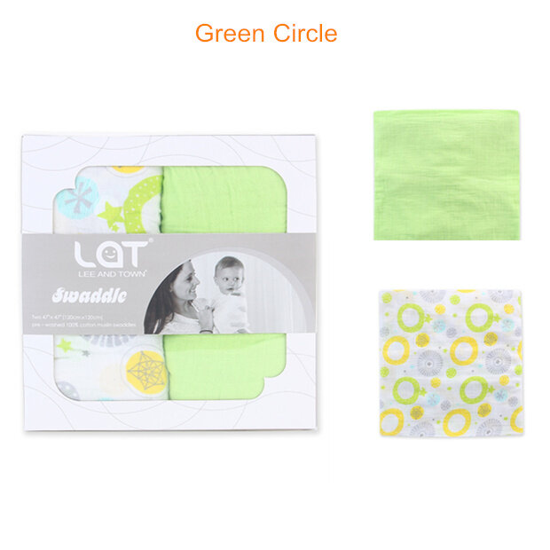 muslin swaddle blanket Green Circle