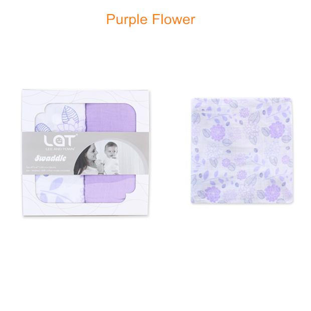 muslin swaddle blanket Purple Flower