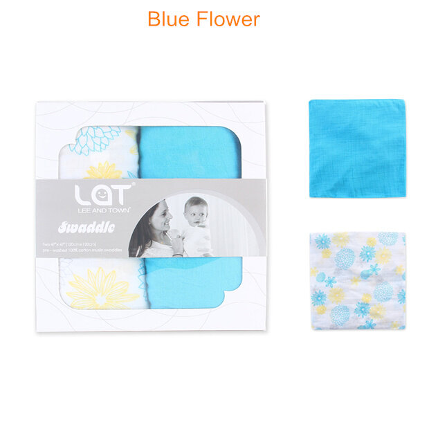 muslin swaddle blanket Blue Flower