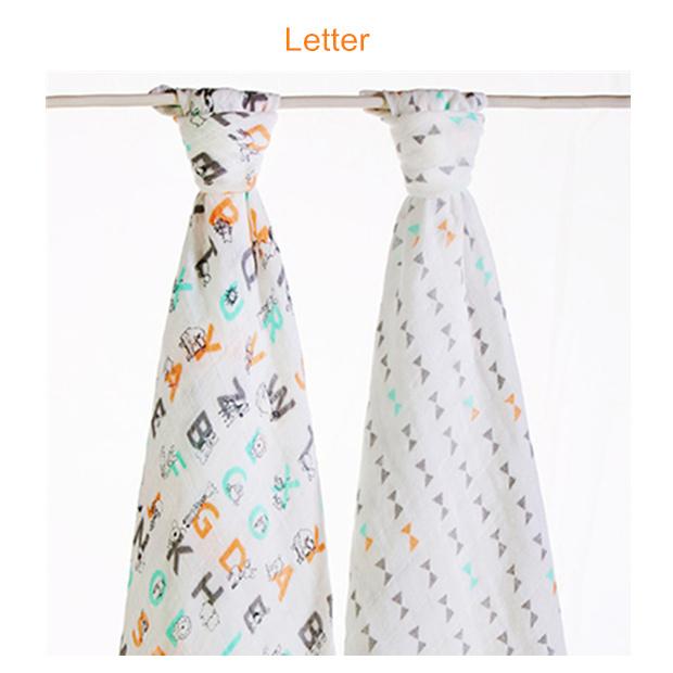 muslin swaddle blanket Letter