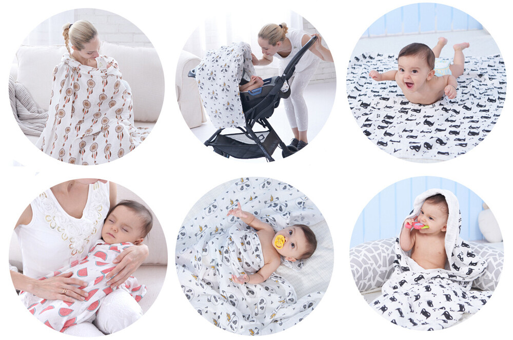 100% cotton two layers muslin swaddle blanket stroller cover