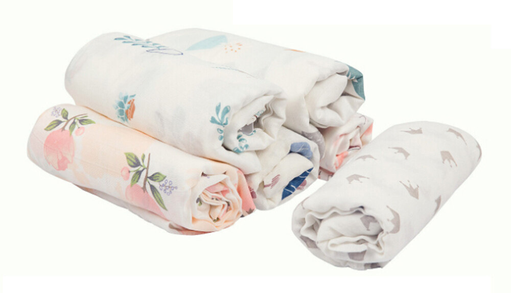 bamboo cotton muslin swaddle blanket floral animal patterns