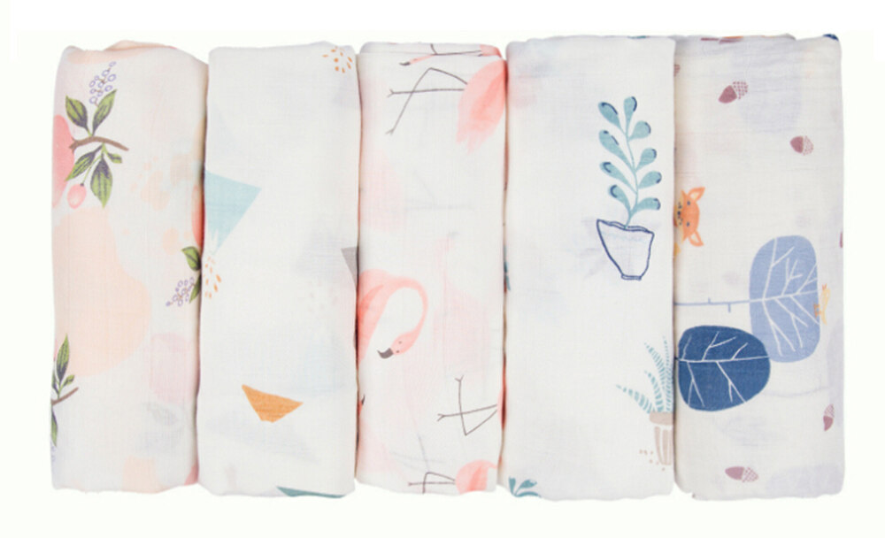 70% bamboo and 30% cotton muslin swaddle blanket 47 x 47 inch