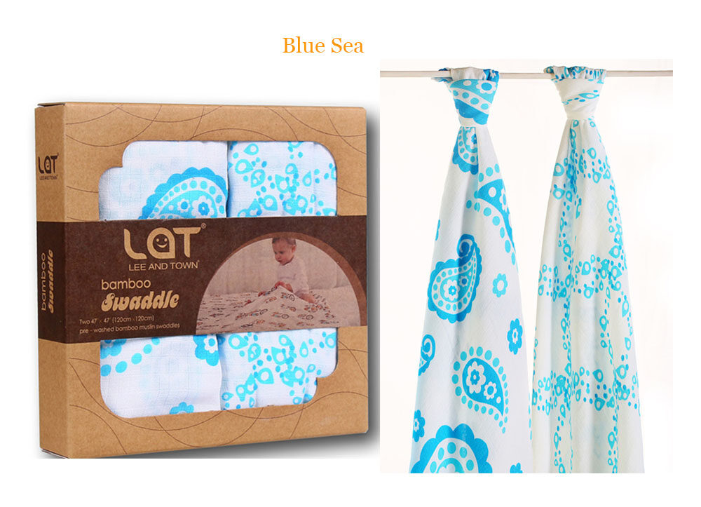 bamboo cotton muslin swaddle blanket blue sea