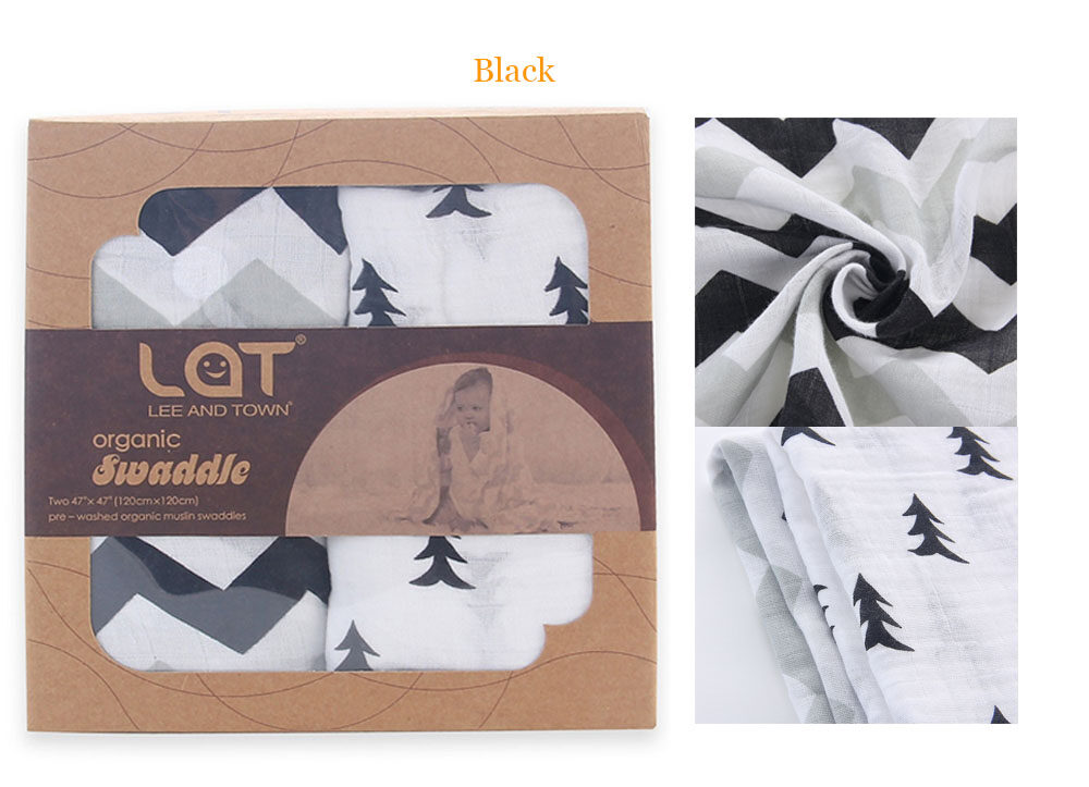 100% organic cotton muslin blanket black