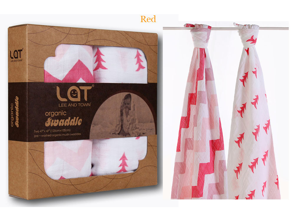 organic cotton muslin swaddle blanket red