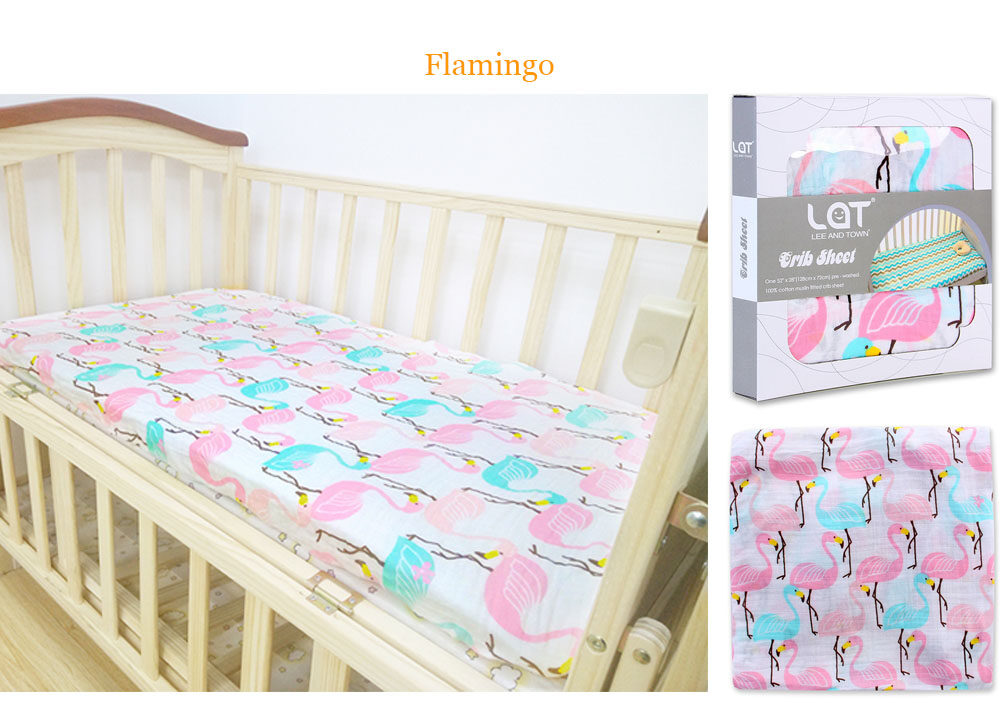 cotton muslin fitted crib sheet Flamingo