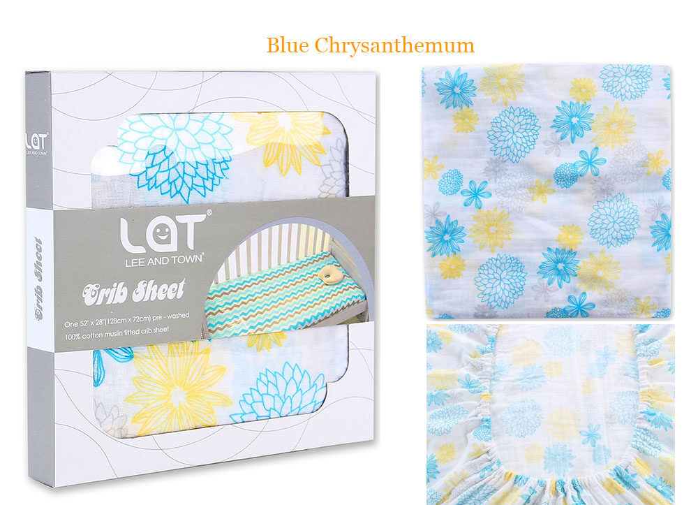 cotton muslin fitted crib sheet Blue Chrysanthemum