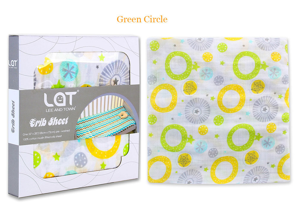 cotton muslin fitted crib sheet Green Circle