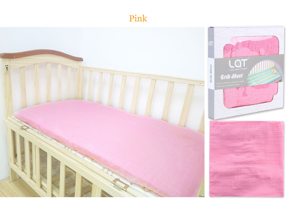 cotton muslin fitted crib sheet Pink