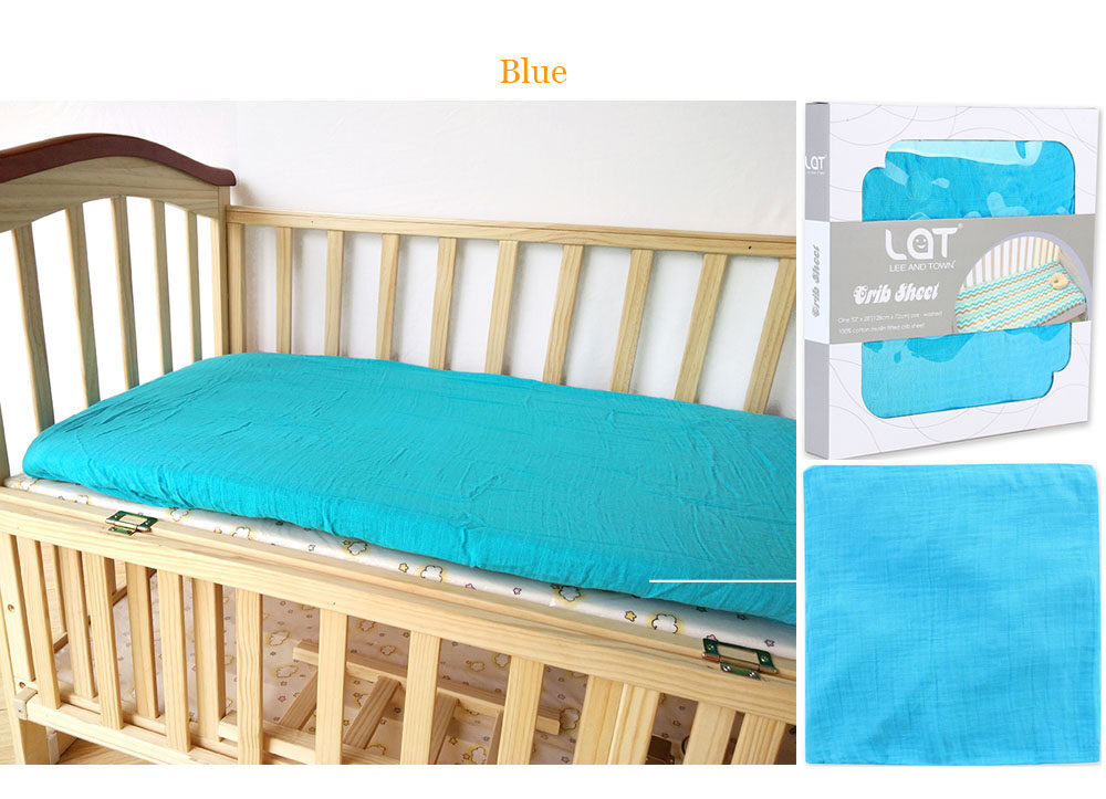 cotton muslin fitted crib sheet Blue