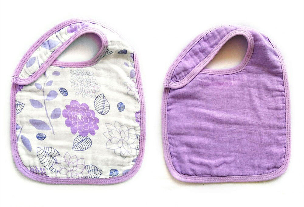 baby snap bibs Purple Flower