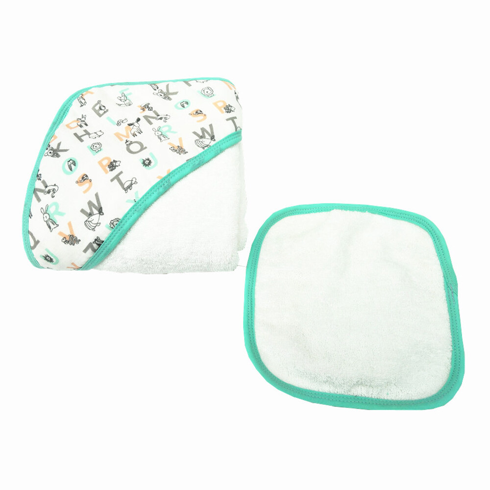 baby hooded towel and face towel set Letter