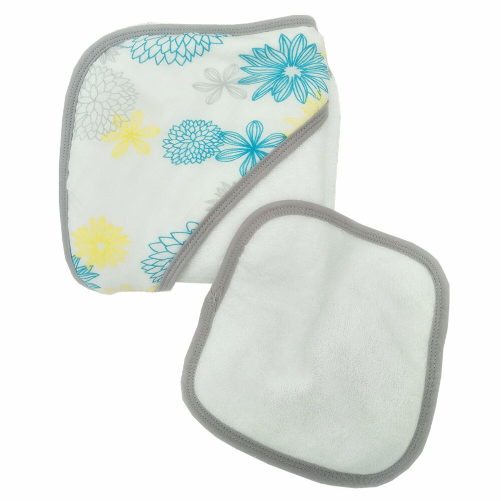 baby hooded towel and face towel set Blue Flower