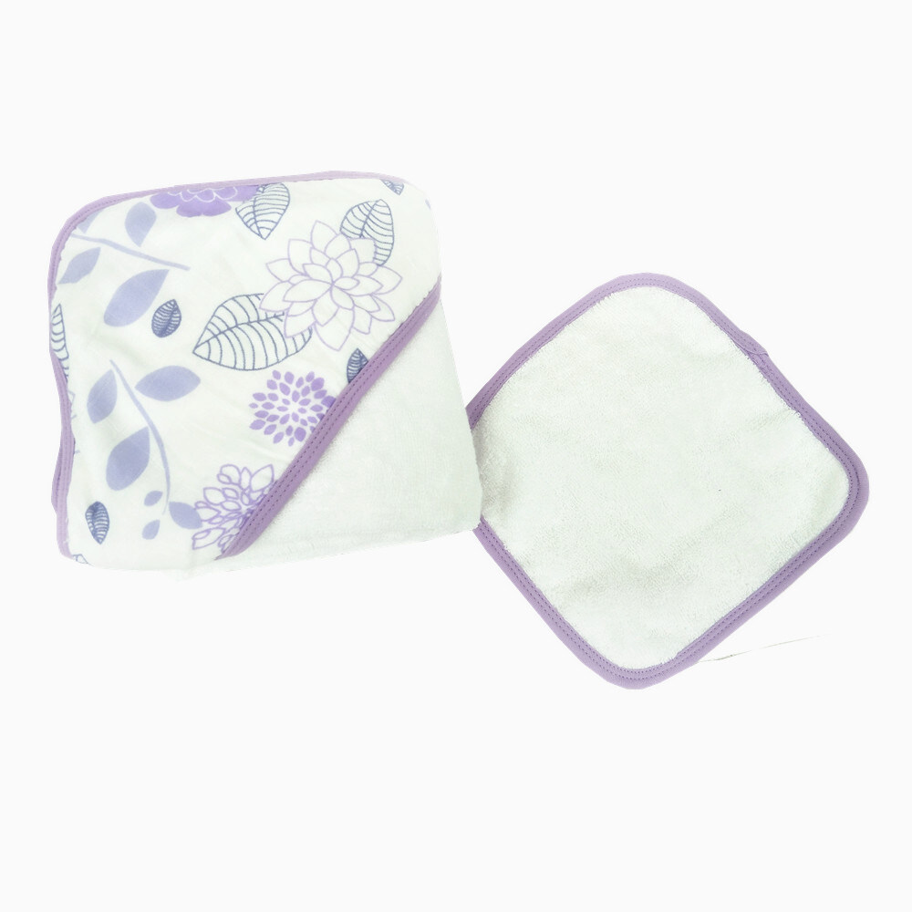 baby hooded towel and face towel set Purple Flower
