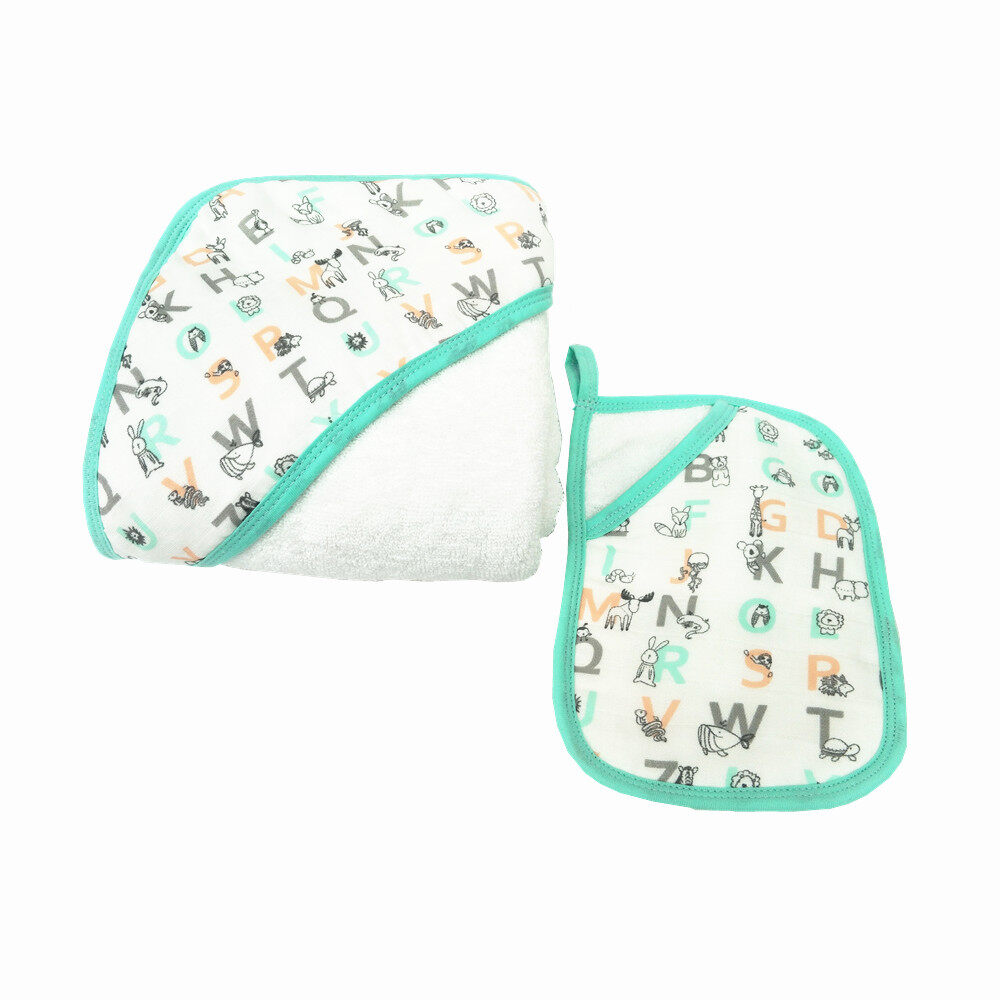 baby hooded towel and washcloth set Letter