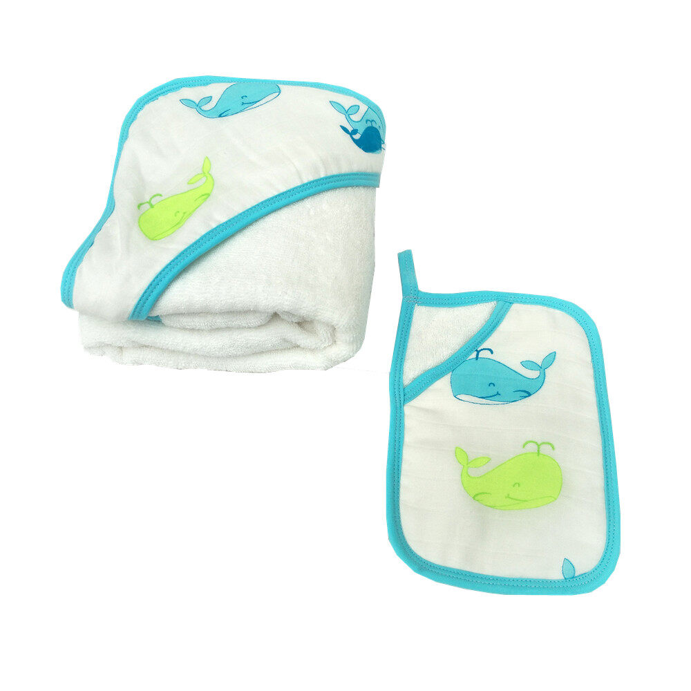 baby hooded towel and washcloth set Blue Whale