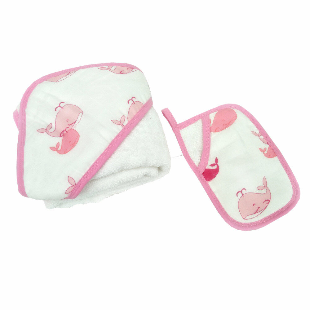 baby hooded towel and washcloth set Pink Whale