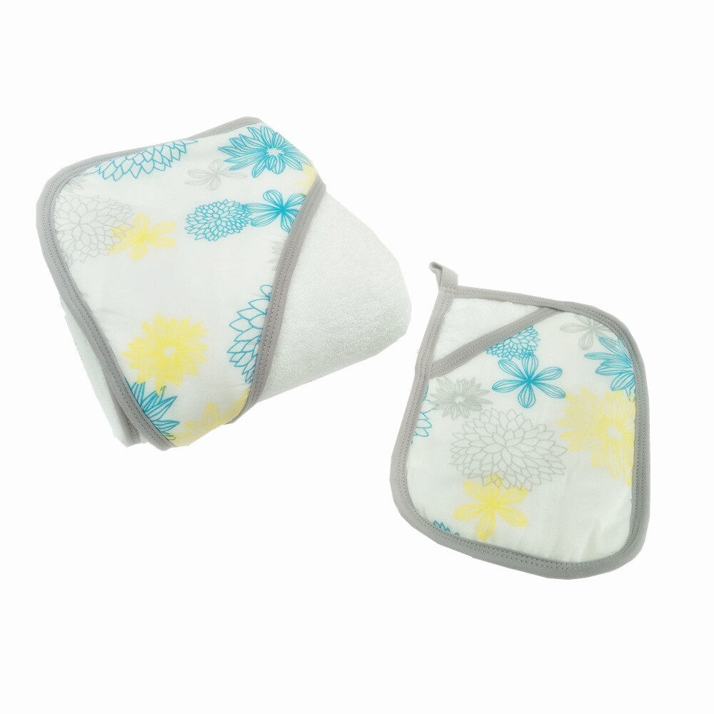 baby hooded towel and washcloth set Blue Flower