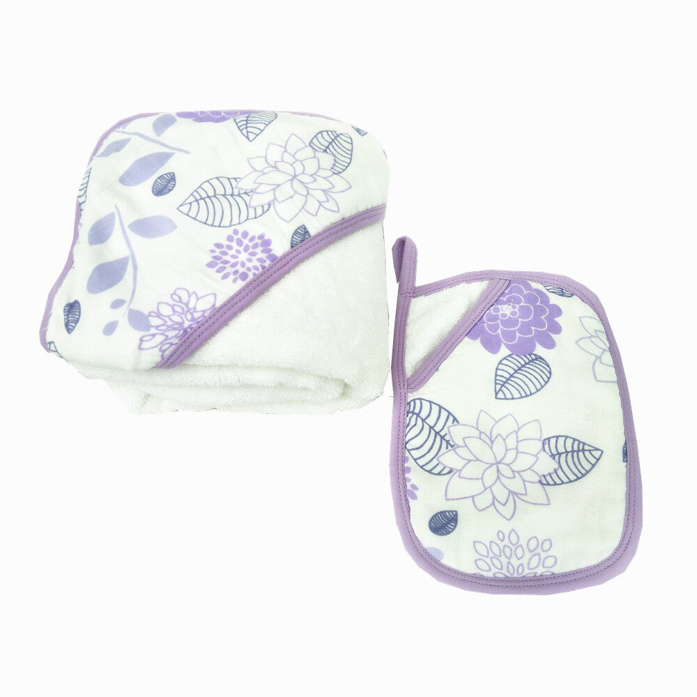 baby hooded towel and washcloth set Purple Flower