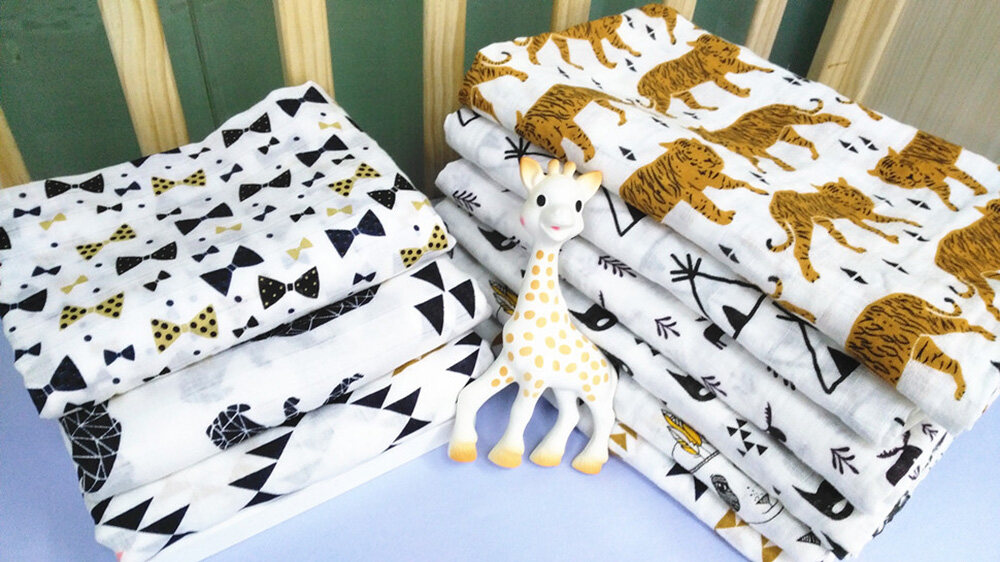 cotton muslin swaddle blanket floral animal patterns
