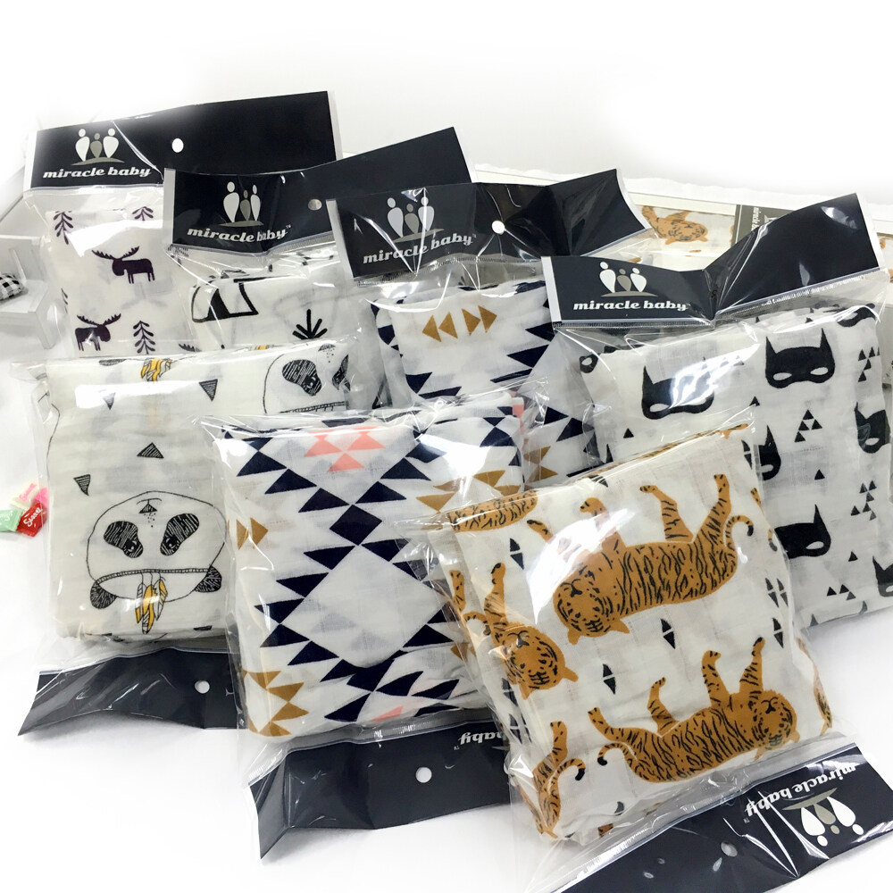 100% cotton muslin swaddle blanket 47 x 47 inch