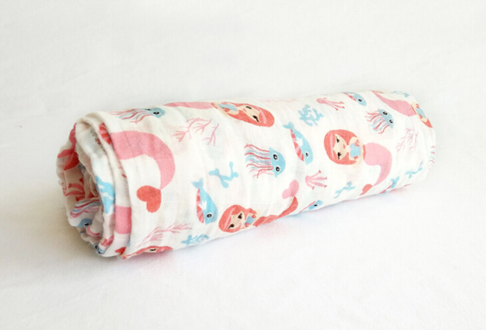 100% cotton muslin swaddle blanket Mermaid