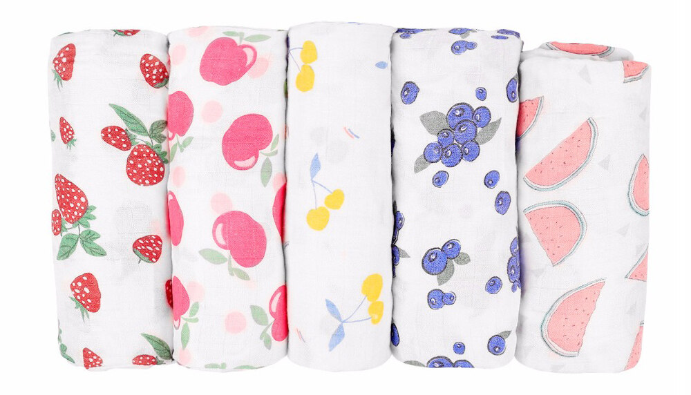 bamboo muslin swaddle blanket fruit patterns