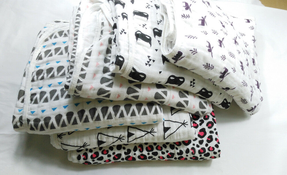 2 layer cotton muslin swaddle blankets 47 x 47 inches